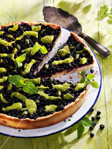 Blueberry and pistachio tart with mint pesto