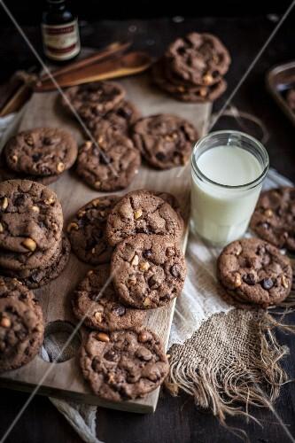 Chocolate Hazelnut Cookies with Fresh Milk