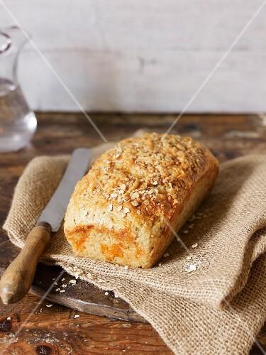 Oat bread on a jute sack