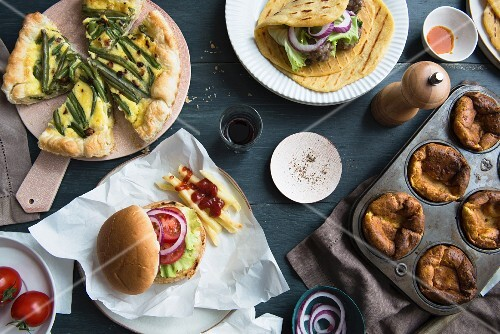 Turkey burger, piadina with meatballs, bean quiche and Yorkshire puddings