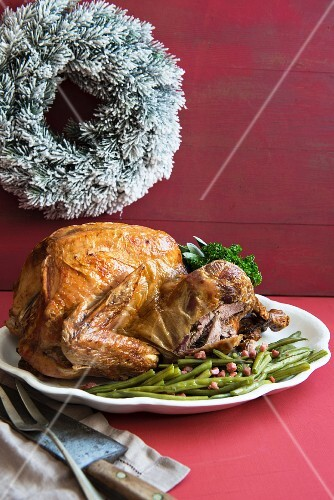 Roast turkey with green beans for Christmas