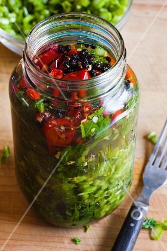 Pickled Mustard Greens in a Mason Jar