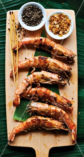 Baked king prawns with spices (Asia)