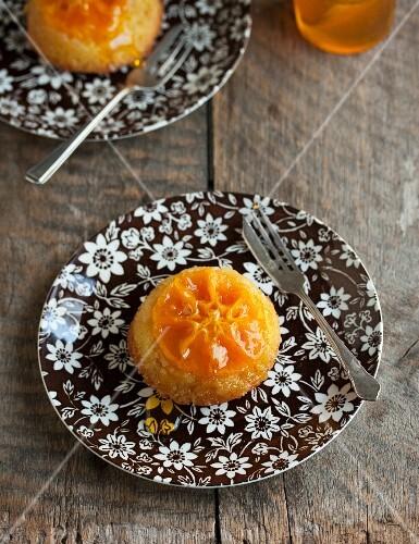 Individual upside-down orange cake