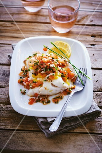 Cod fillet with tomato salsa