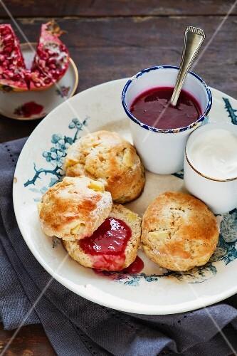 Apple scones with pomegranate jam