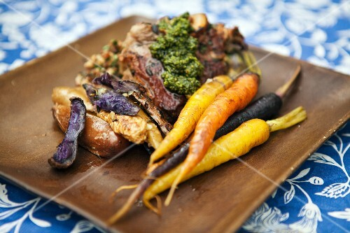 Lamb chops with colourful carrots and potatoes