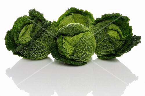 Four savoy cabbages