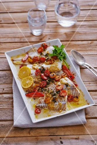 Cod with tomatoes and peppers