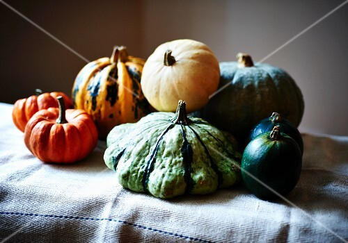 Assorted types of squash on a linen cloth