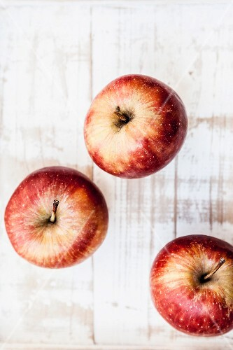 Three red apples, from above