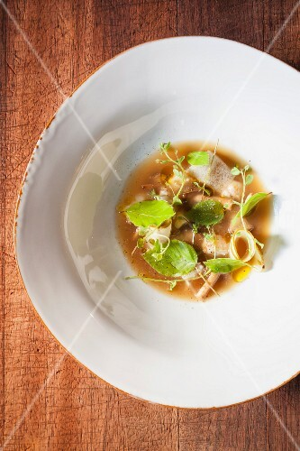 Soup with herbs, preserved mushrooms and langoustine