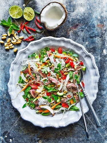 Beef salad with coconut, chillies and peanuts (Thailand)