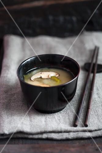 Miso soup with matsutake mushrooms (Japan)