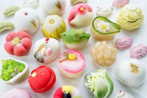 Assorted wagashi (sweets, Japan)