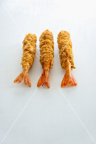 Three tempura prawns