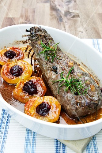 Studded saddle of hare with cranberry apples
