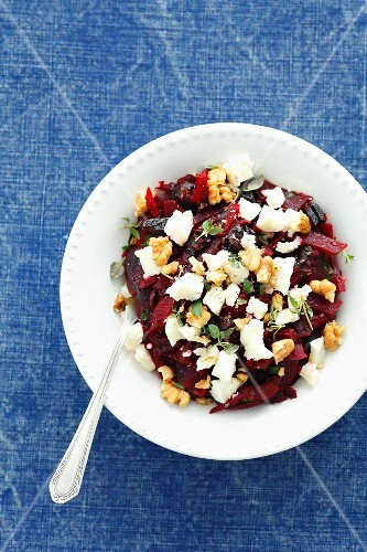 Beetroot salad with walnuts, goat's cheese and prunes