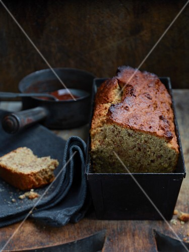Hazelnut and chocolate cake in a loaf tin
