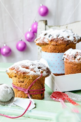 Walnut panettone with dried apricots and icing sugar, for Christmas