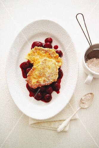 Quark pancakes on cherry sauce