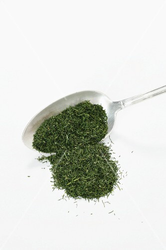 Dried dill on a spoon