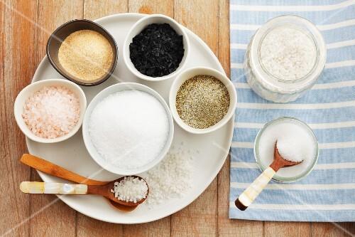 Assorted varieties of salt from above