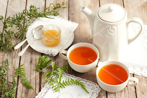 Fern tea, fern leaves and honey