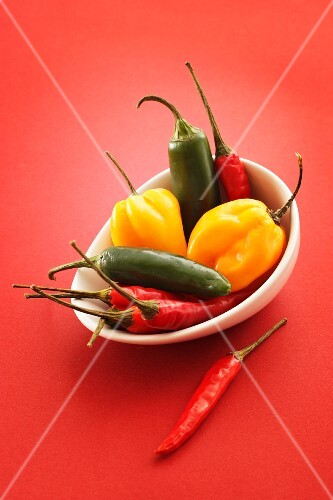 Assorted chillies in a bowl