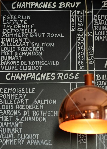 A champagne list in a wine bar