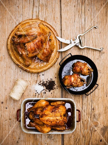 Three different poultry dishes from above