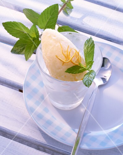 Orange and ginger ice cream with fresh mint