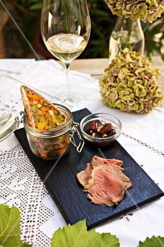 Beef brawn with roast beef and runner bean salad