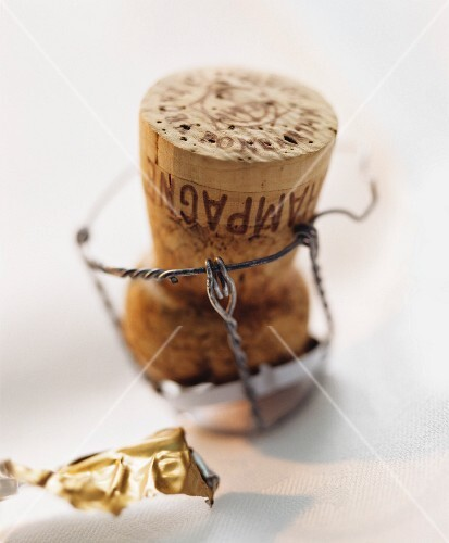 A champagne cork with wire holder