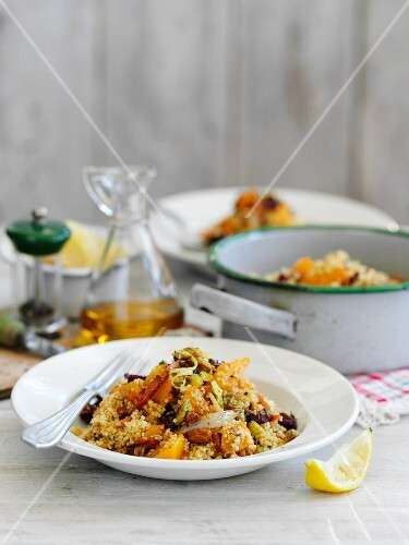 Couscous salad with lentils and spicy squash