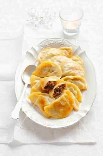 Pierogi (dumplings filled with sauerkraut and mushrooms, Poland) for Christmas