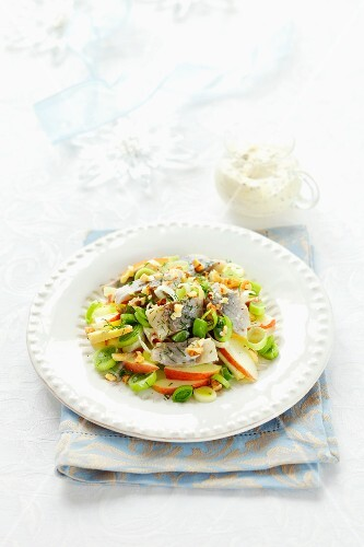 Herring salad with leek, apple and walnuts, for Christmas
