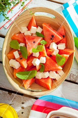 Watermelon salad with feta and mint for a summer picnic
