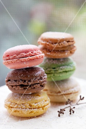 Colored Macaroon Cookies Stacked