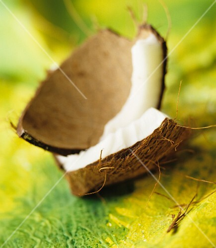 Coconut flesh in the shell