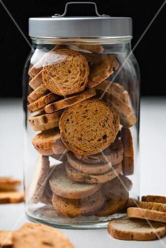 Biscotti in a storage jar