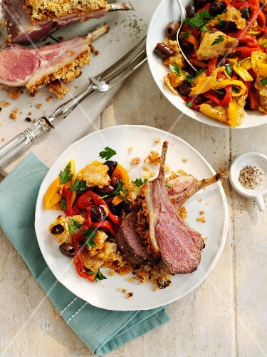 Lamb cutlets with a harissa crust and peperonata