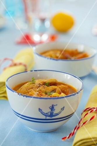 Carp soup in a maritime soup bowl