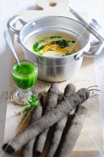 Black salsify & orange soup with parsley oil