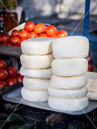 Traditional Georgian imeruli cheese sold on a local market.