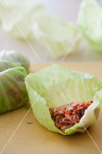 Filling Cabbage Leaves to Make Stuffed Cabbage