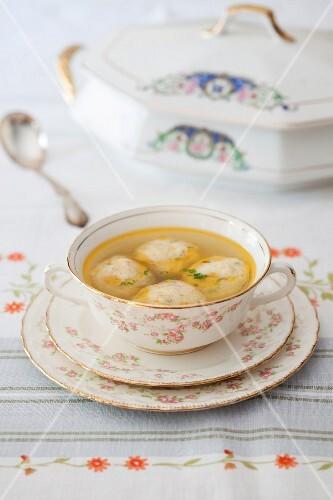 Clear broth with matzo dumplings