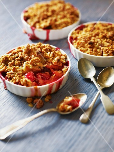 Three Individual Servings of Plum Crumble