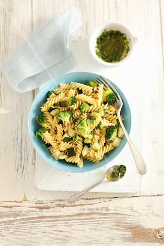 Fusilli with broccoli, courgette and gremolata