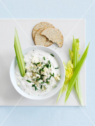 Blue Cheese Dip with Crackers and Celery